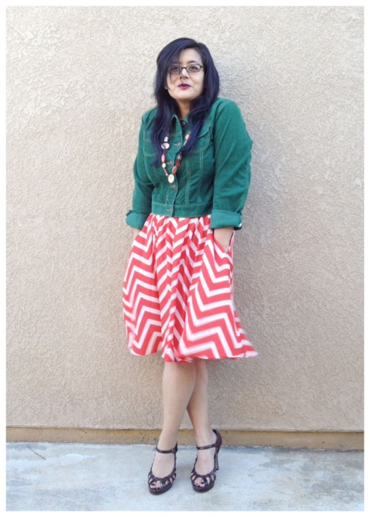 OOTD :: of verdant green and geometric chevron