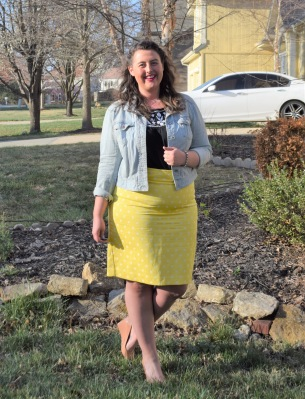 denim jacket, yellow pencil skirt, embroidered tank, nude wedges