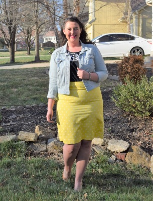 denim jacket, yellow pencil skirt, black tank, nude wedges